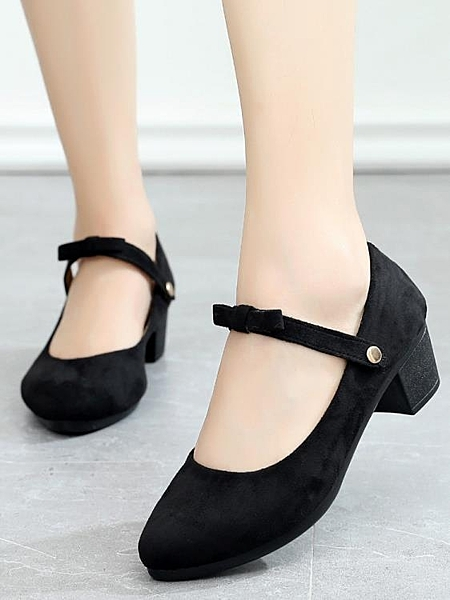 2019新款老北京布鞋女單鞋時尚粗跟百搭淺口黑色上班工作鞋跳舞鞋 茱莉亞