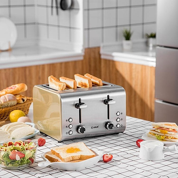 多士爐烤面包機家用全自動不銹鋼4片小型早餐加熱吐司機迷你 聖誕節免運