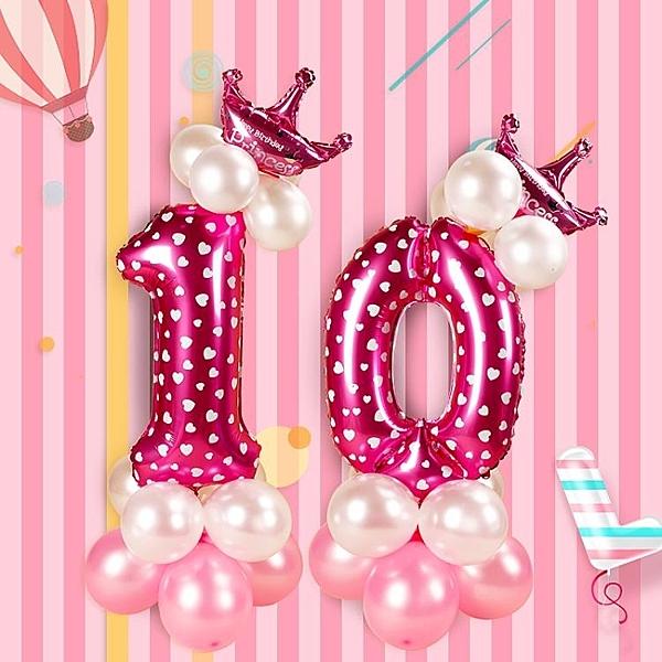 【2枚入】生日佈置寶寶周歲百天數字氣球裝飾路引派對布置氣球立柱【星際小舖】
