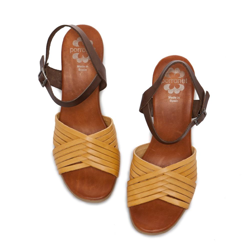 Fair Lady PORRONET 編織皮革繫帶木紋粗跟涼鞋