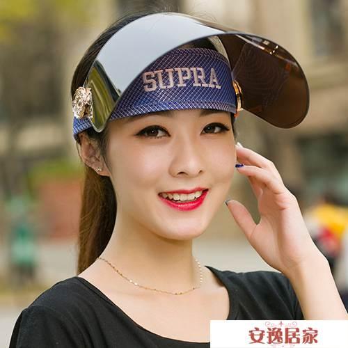 夏季女士騎車遮陽帽太陽帽遮臉防紫外線電動車面罩防曬帽子空頂 安逸居家