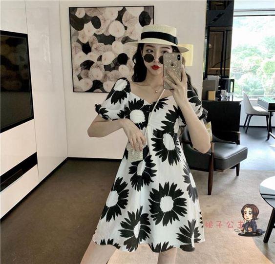 度假風洋裝 泫雅風法國小眾法式智熏洋裝桔梗碎花裙超仙度假風超火一字領女