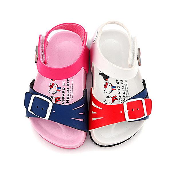童鞋城堡-麗莎與卡斯伯xKitty 中童 法式風格涼鞋GK4014-白/桃 (共二色)