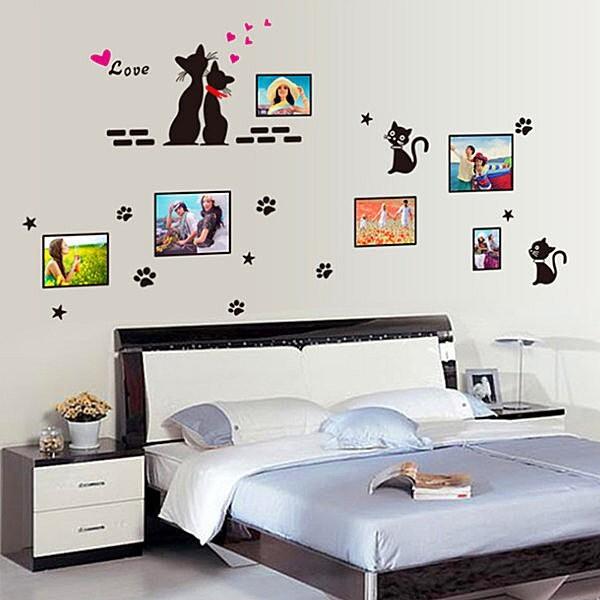*限宅配**限宅配*居家寶盒yv4169創意可移動壁貼 牆貼 背景貼 時尚組合壁貼 貓咪相框