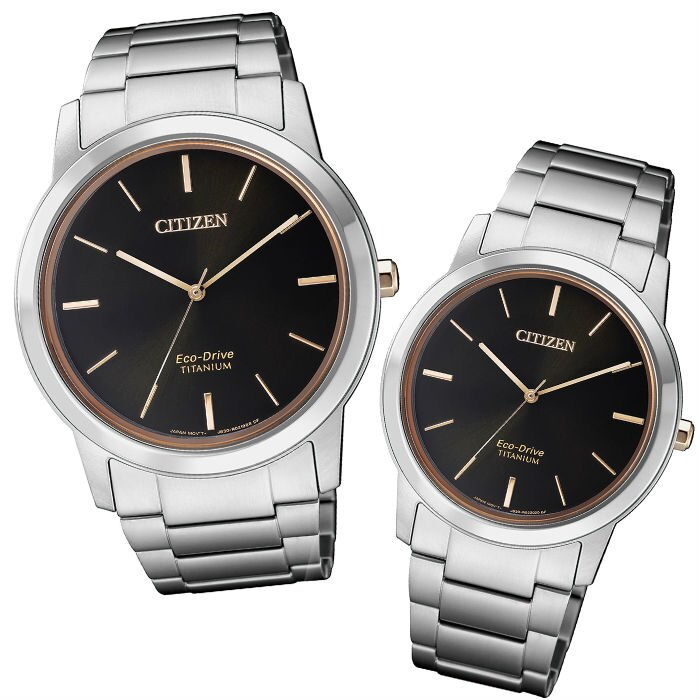 CITIZEN 時尚簡約光動能鈦金屬手錶AW2024-81E + FE7024-84E