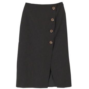 【titivate:スカート】リネンライクフェイクラップ台形スカート