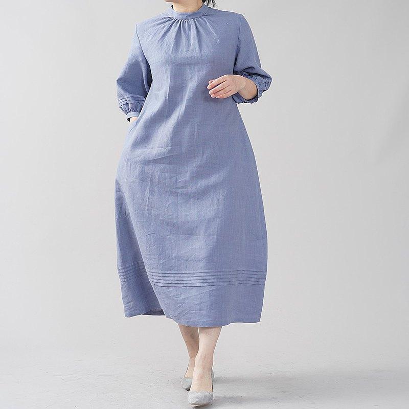 wafu-略薄的亞麻連衣裙連衣裙細褶的立場領亞麻連衣裙蓬鬆的袖子mimore長度短袖/紫色sumireiro A079B-SMR1