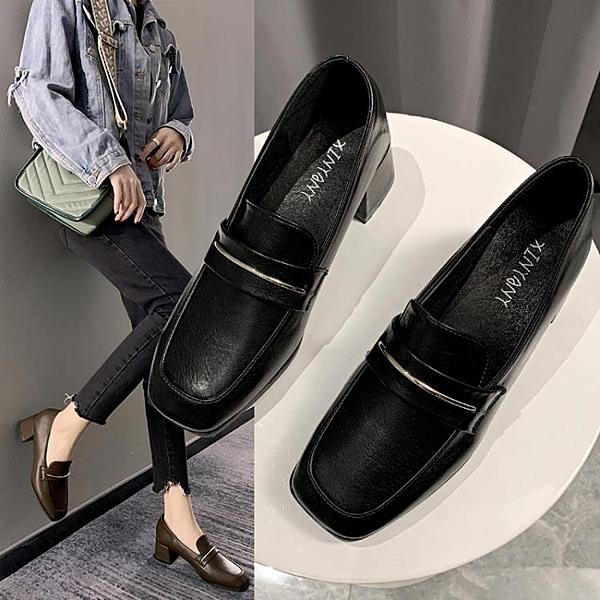 軟皮小皮鞋女英倫風高跟鞋單鞋2020新款韓版百搭春款方頭樂福黑色 茱莉亞