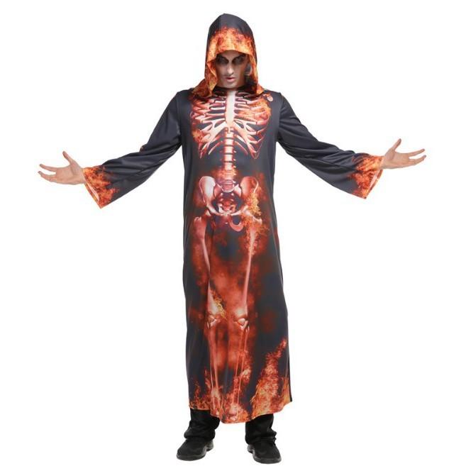派對達人萬聖節服裝,萬聖節道具,變裝派對,骷髏服裝.大人變裝服/烈火骷髏長袍