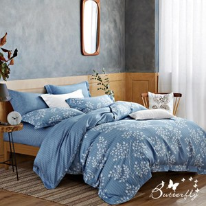 【BUTTERFLY】MIT-3M專利+頂級天絲-加大雙人薄床包枕套組-旅途之秋