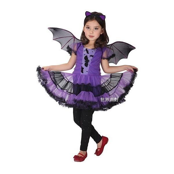 派對達人萬聖節服飾,萬聖節裝扮,聖誕舞會,變裝派對,巫婆服裝,兒童變裝服-小紫蝙蝠女