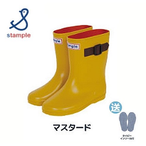 日本製 stample扣帶式兒童雨鞋71970-黃色