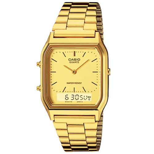 CASIO 卡西歐 金色時尚熟男指針錶 AQ-230GA-9D