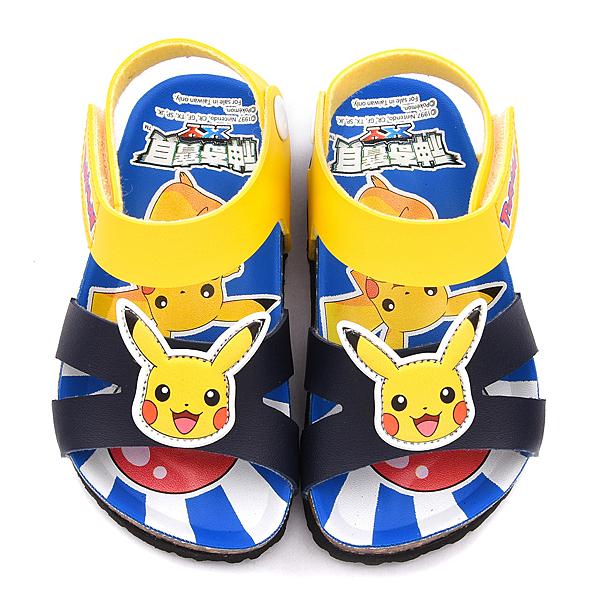 童鞋城堡-神奇寶貝(寶可夢) 中童 軟木風格涼鞋PA3552-藍
