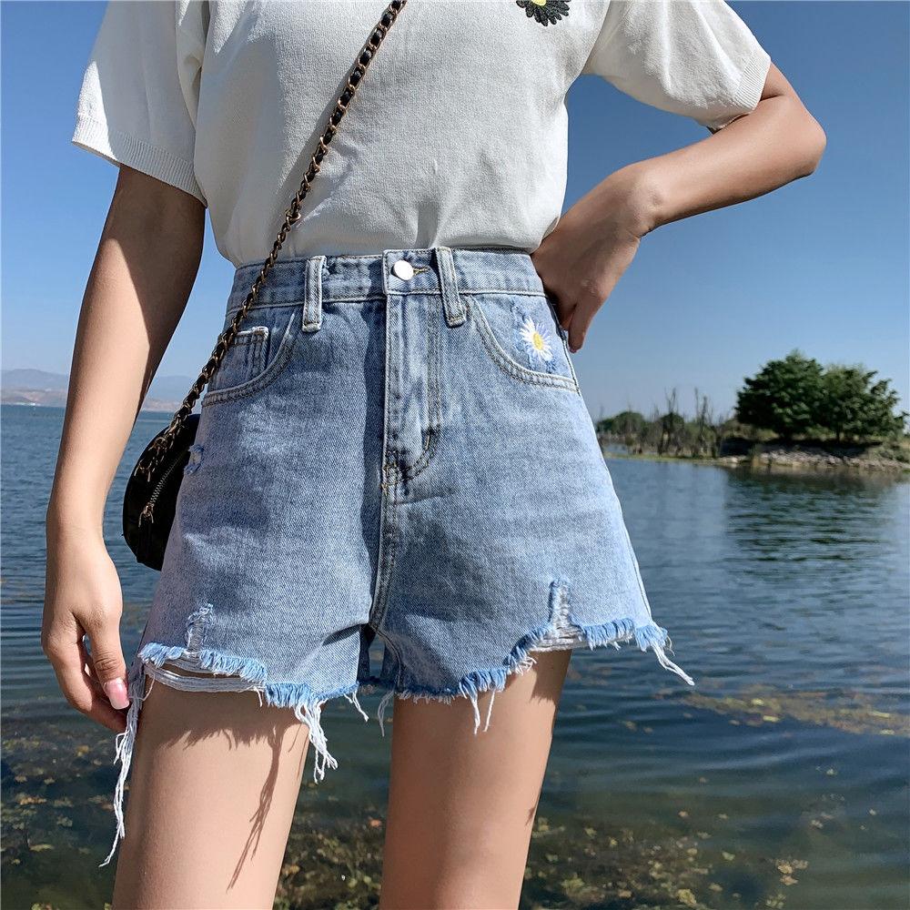 [免運]牛仔短褲 156025短褲女高腰寬鬆寬褲百搭小雛菊牛仔a字顯瘦熱褲子ins潮