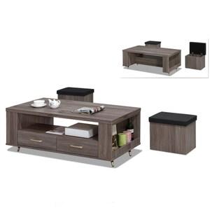 【MUNA 家居】貝克4尺灰橡色大茶几含小凳子(茶几)