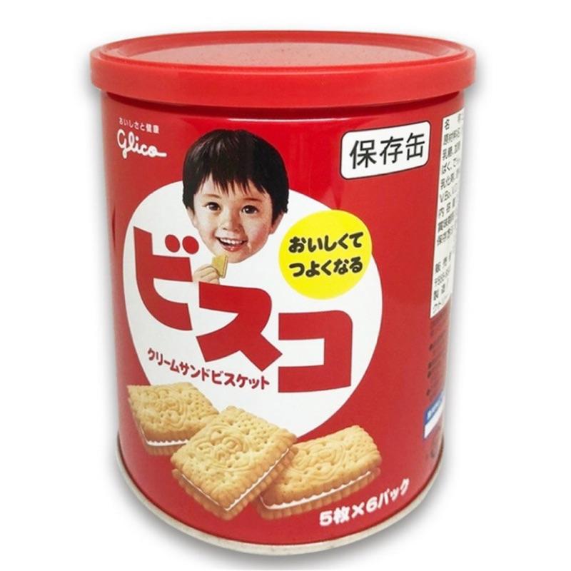 固力果glico BISCO奶油夾心餅乾保存罐 5枚x6袋入