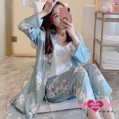 天使霓裳 AngelHoney 居家睡衣 清雅白花 三件式長袖罩衫成套休閒服 藍 UB332