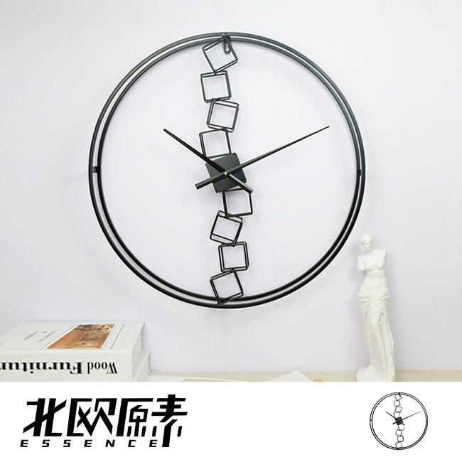 【北歐原素】鍊接方塊造型掛鐘 時鐘 鐵藝 簡約 北歐風(LS0108)