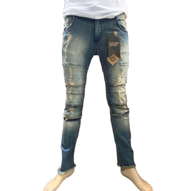 Golden Denim(金色) - LA洛杉磯製造的奢華手工牛仔褲/破壞牛仔長褲/單寧牛仔/修身剪裁/GDPD001