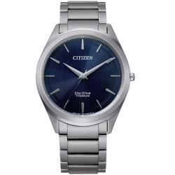 CITIZEN 星辰GENTS光動能質感條紋鈦金屬手錶BJ6520-82L