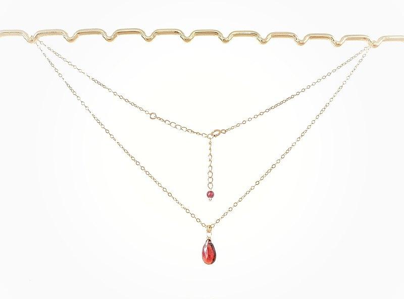 輕珠寶/ AAA清透水滴石榴石項鍊 可調長度 鎖骨鏈