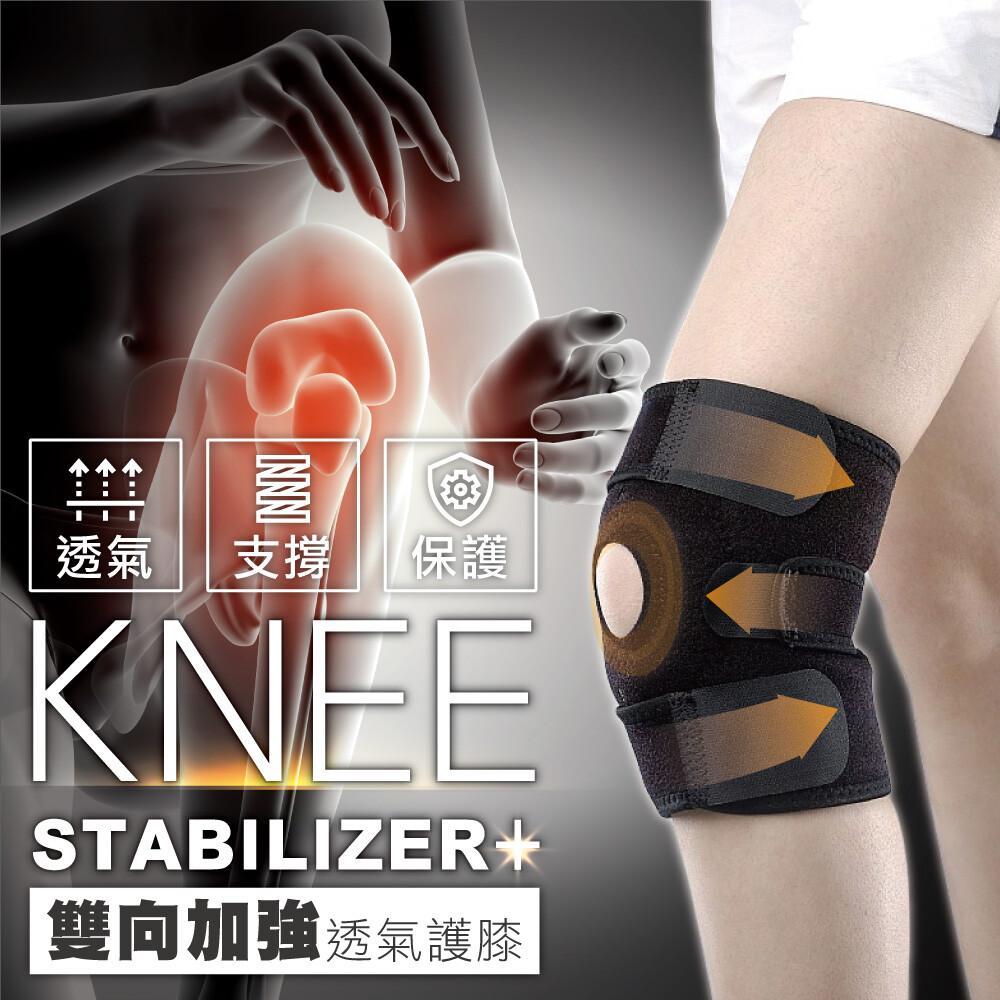 台灣製雙向三片加強運動透氣護膝