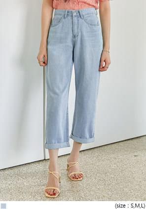 韓國空運 - 反摺造型高腰寬管牛仔褲