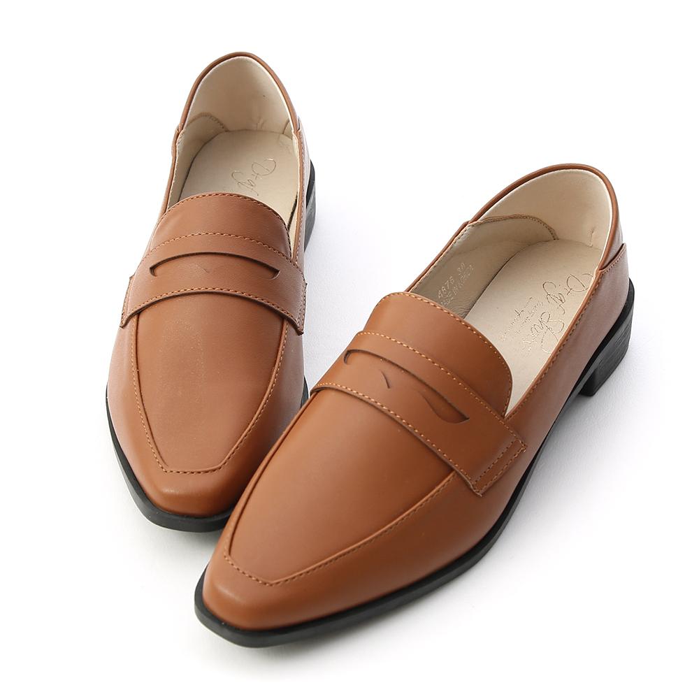 D+AF 紳士格調 經典款微尖頭樂福鞋  棕