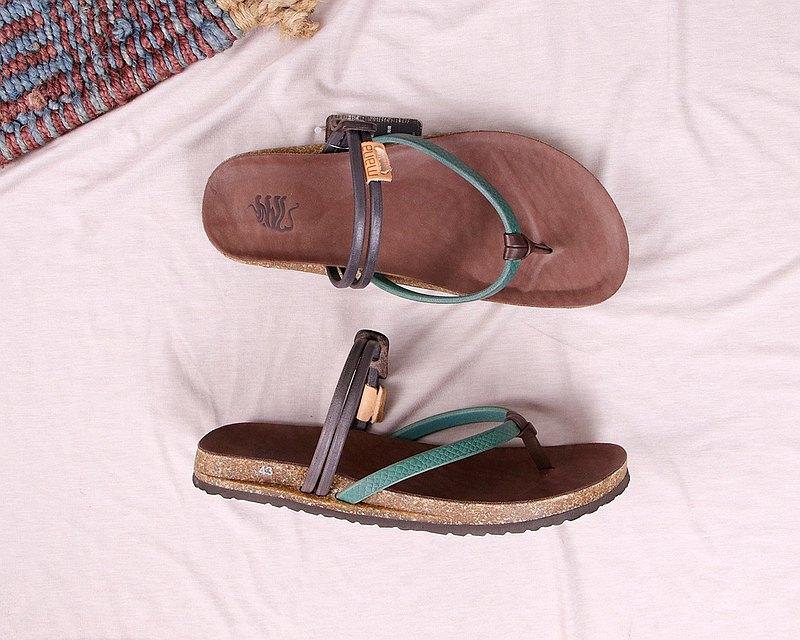 【男】藍綠_壓紋夾腳勃肯鞋 #U201