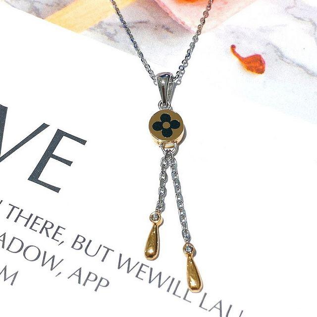 【Eli Jewelry】經典老花圖騰墜頭18K金雙色墜子鉑金Pt950項鍊