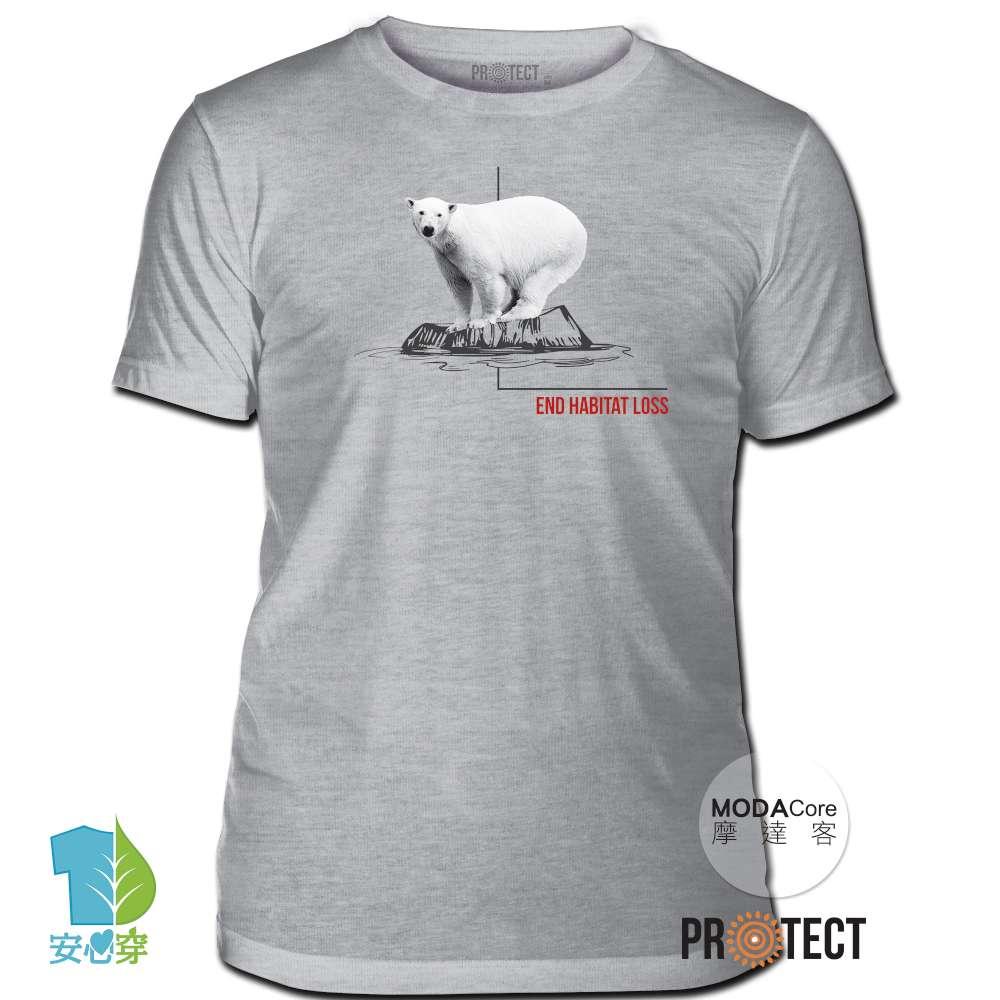 摩達客-預購-美國The Mountain保育系列 消失冰河北極熊 灰色修身短袖T恤 柔軟舒適高級混紡
