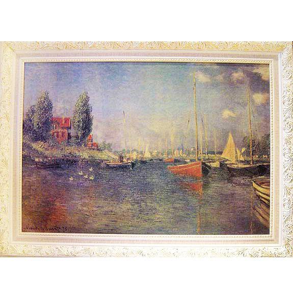 Monet莫內名畫 紅船小港 掛畫 -事業一帆風順 旗開得勝 鵬程萬里 98x73cm