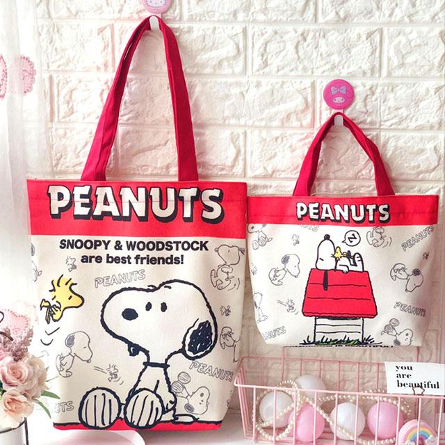 【優貝選】卡通童趣帆布多用途 便當袋/午餐提包/購物袋-兩件組