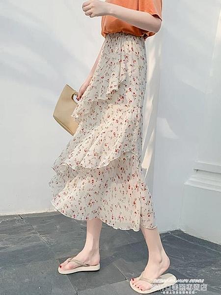 蛋糕裙流行的裙子女適合胯大腿粗不規則仙女半身裙中長款蛋糕雪紡裙 萊俐亞 交換禮物