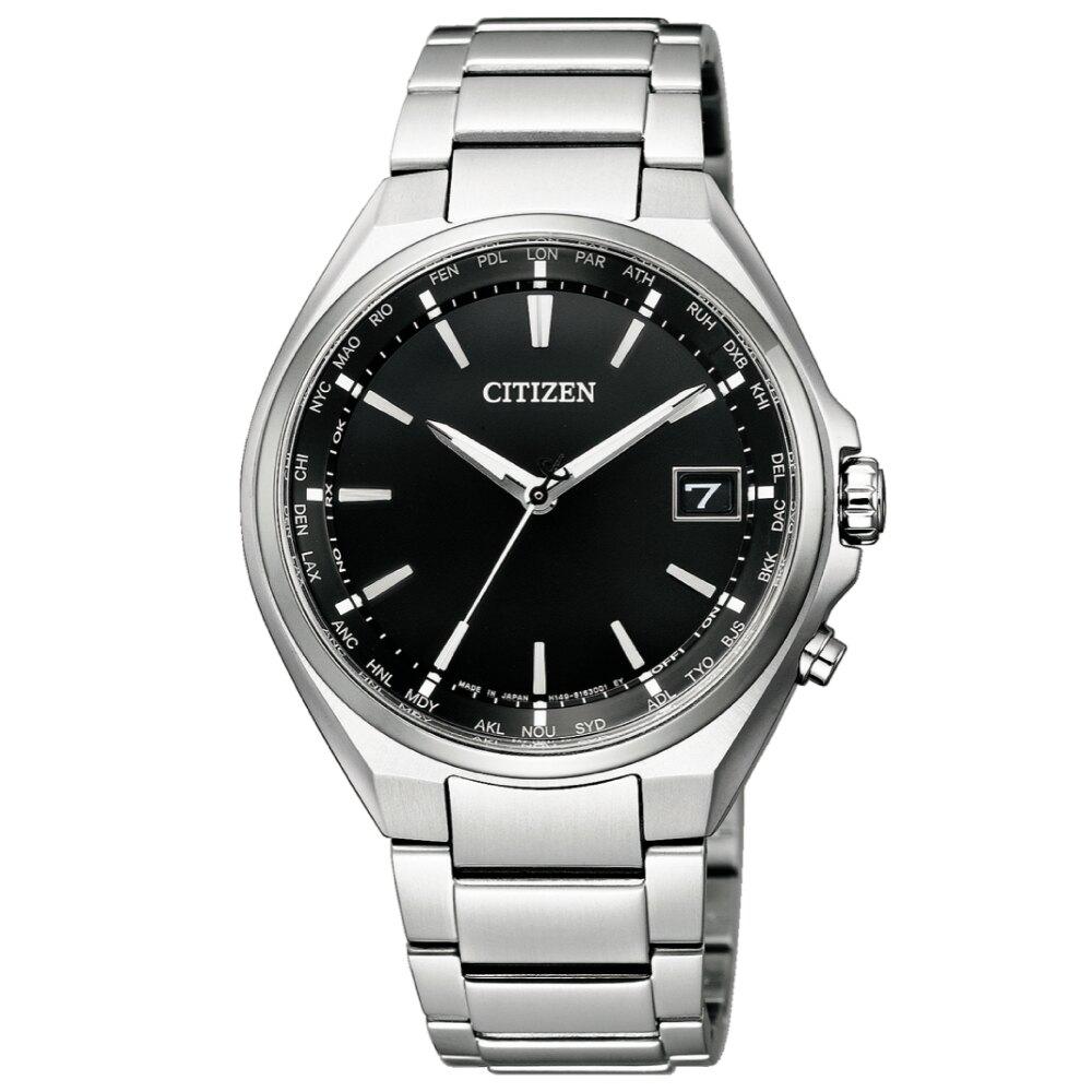 CITIZEN 極簡紳士電波光動能鈦金屬手錶/CB1120-50E