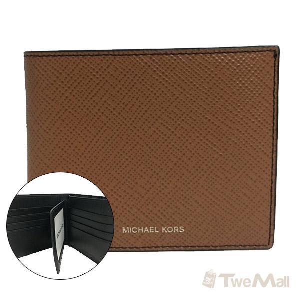 MICHAEL KORS MK 防刮皮革短夾/皮夾附證件夾(駝)