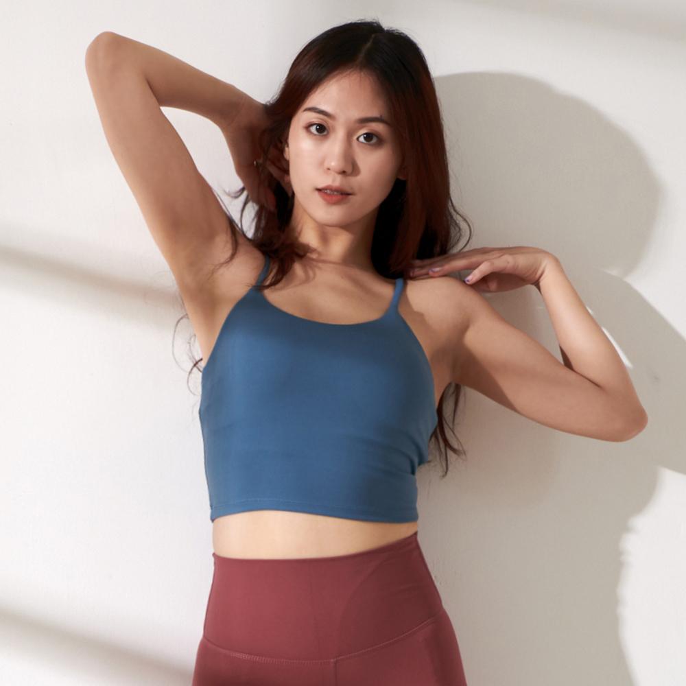 Mori girl 性感長版運動背心式內衣 藍