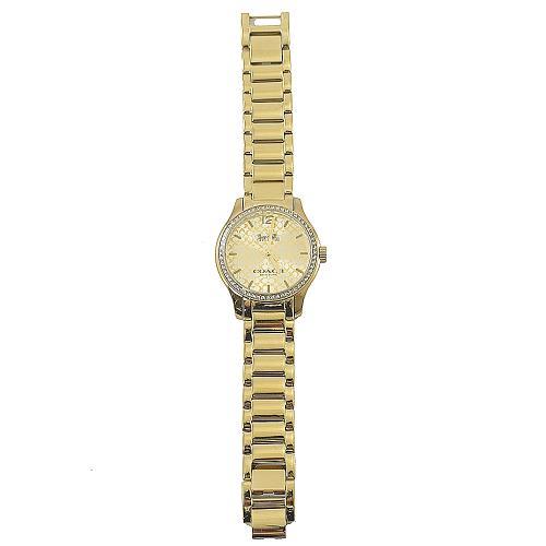 COACH W6184 Maddy 經典C LOGO水鑽水晶表圈腕錶金