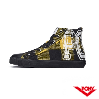 【PONY】Shooter系列蘇格蘭格紋時尚百搭帆布鞋 休閒鞋 黃黑