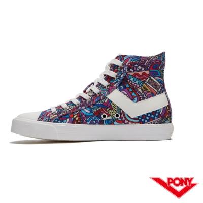 【PONY】Shooter系列塗鴉高筒復古帆布鞋 休閒鞋 女鞋 彩繪塗鴉