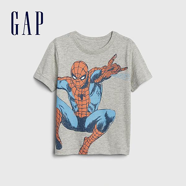 Gap男幼童Gap x Marvel 漫威系列蜘蛛人棉質舒適圓領短袖T恤545143-亮麻灰色