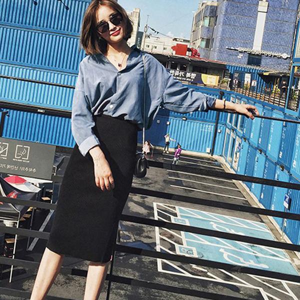 復扣藍蜜桃絨翻領襯衫搭修身包臀中裙二件套vina shop 【現】2PC8012