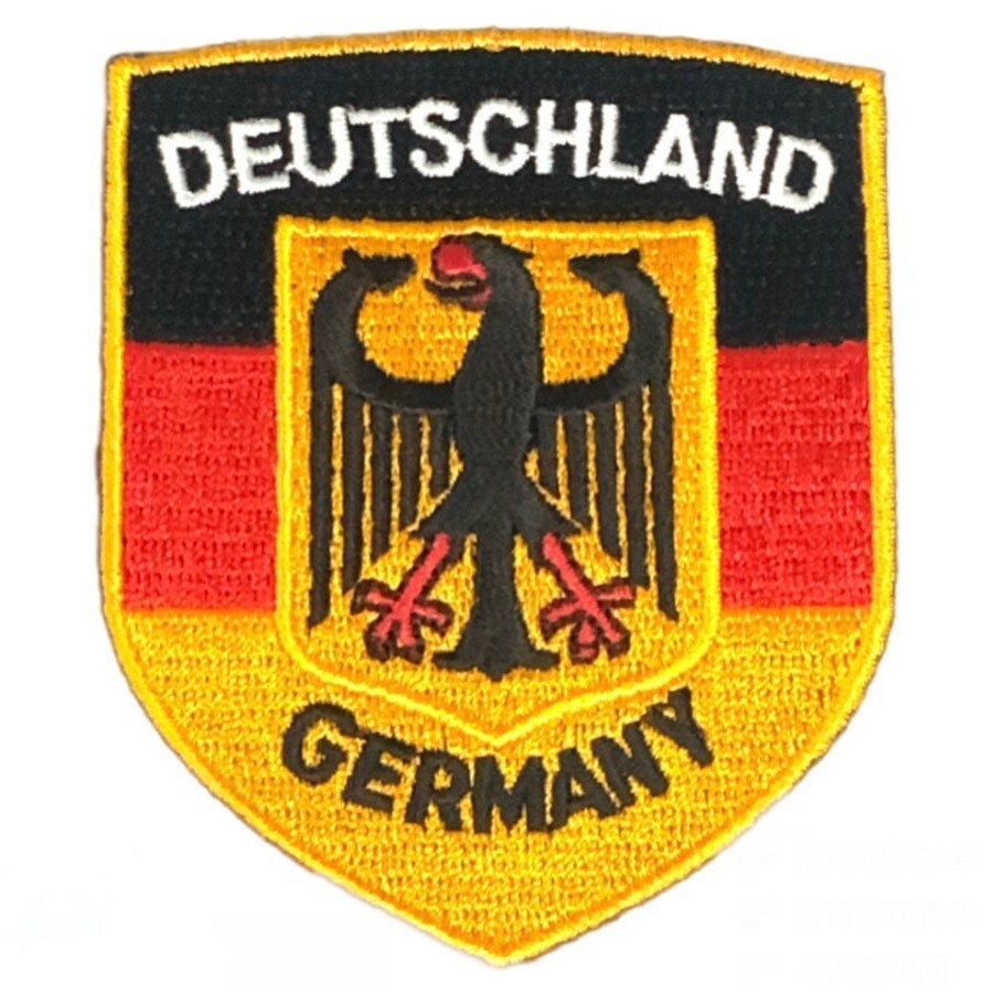 germany德國徽章 電繡徽章 刺繡繡片貼 flag patch肩章 背包貼 熱燙貼布 立體繡貼