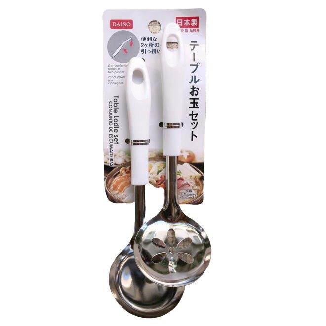 日本製 大創 DAISO 不銹鋼濾勺組(湯匙+濾勺) 廚房用品 餐具*夏日微風*