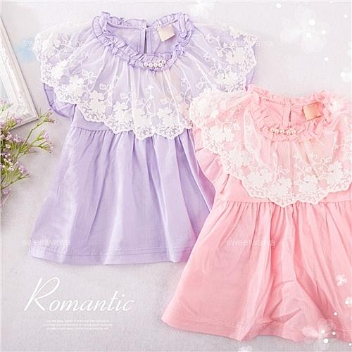 小公主夢幻蕾絲-透氣棉飛飛袖短袖上衣-2色(290474)【水娃娃時尚童裝】