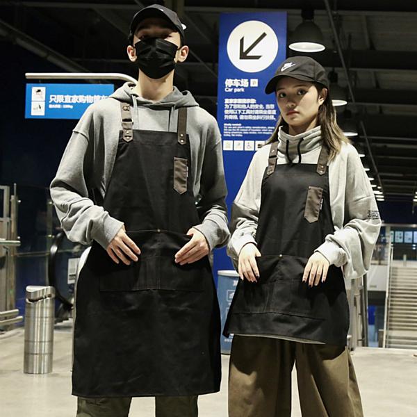 時尚圍裙女廚房家用掛脖圍裙男長款韓版潮服務員工作圍裙定制logo 印巷家居