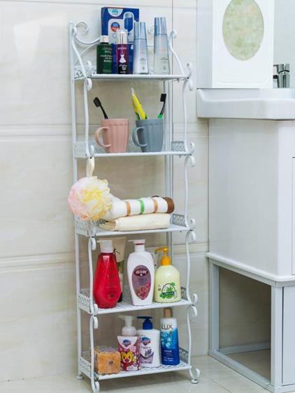 洗手間廁所浴室置物架落地衛生間收納架子洗漱多層用品用具免打孔  夏洛特居家名品