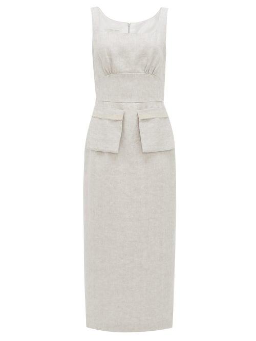 Carl Kapp - Desroches Linen-herringbone Pencil Dress - Womens - Grey White