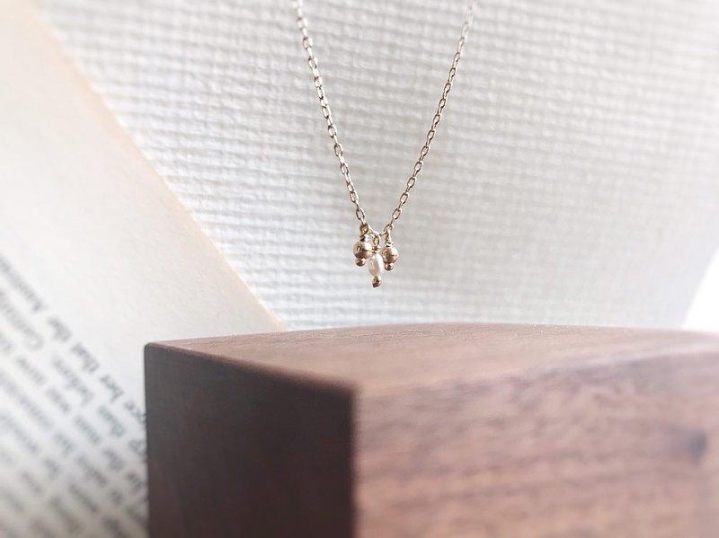 ::金:: 迷你金球 微珍珠 14kgf  鎖骨鍊 項鍊